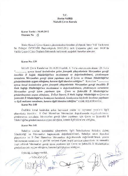 30.05.2012 tarihinde alınan Mahalli Çevre Kurulu Kararaları