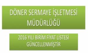 2016 Yılı Birim Fiyat Listesi (20.01.2016 Güncel Liste)