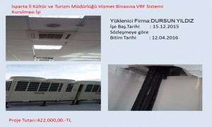 Isparta İl Kültür ve Turizm Müdürlüğü Hizmet Binasına VRF Sistemi Kurulması İşi