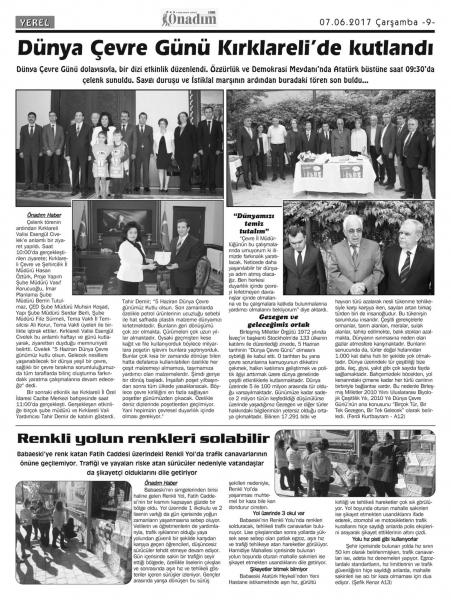 Basında 5 Haziran Dünya Çevre Günü