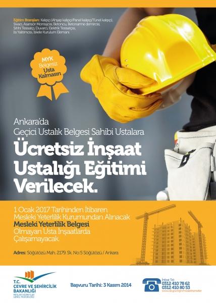 Çevre ve Şehircilik Bakanlığı İnşaat Ustası Eğitimleri Başlıyor