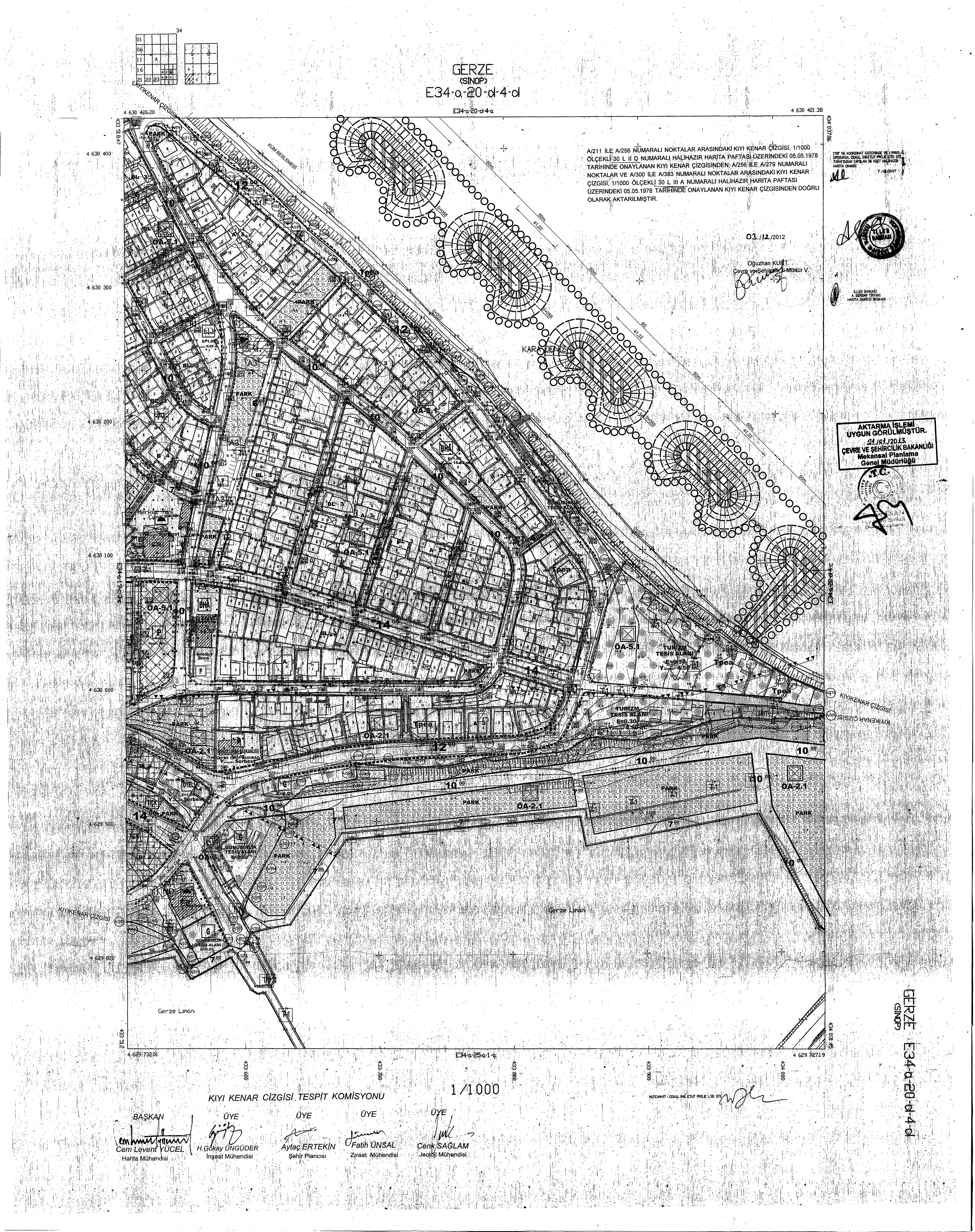 Sinop İli, Gerze ilçesi, Alaettin Şahin Caddesi Sahil Tahkimatı Açık Deniz Dalgakıran Yapımı amaçlı imar planı