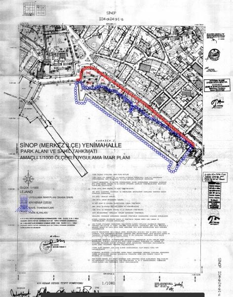 Sinop İli, Merkez İlçesi, Yenimahalle Park Alanı ve Sahil Tahkimatı Amaçlı İmar Planı Askıya Çıkarılmıştır.