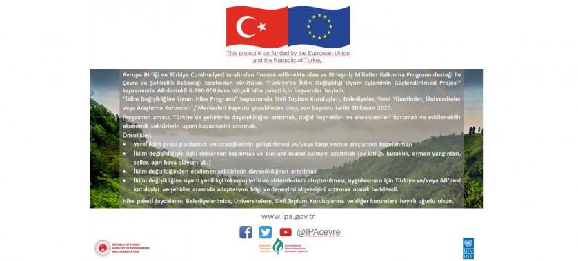 """IPA-II Dönemi """"Türkiye'de Adaptasyon Eylemini Güçlendirme"""" Projesi Hibe Programı Başvuruları Başladı!"""