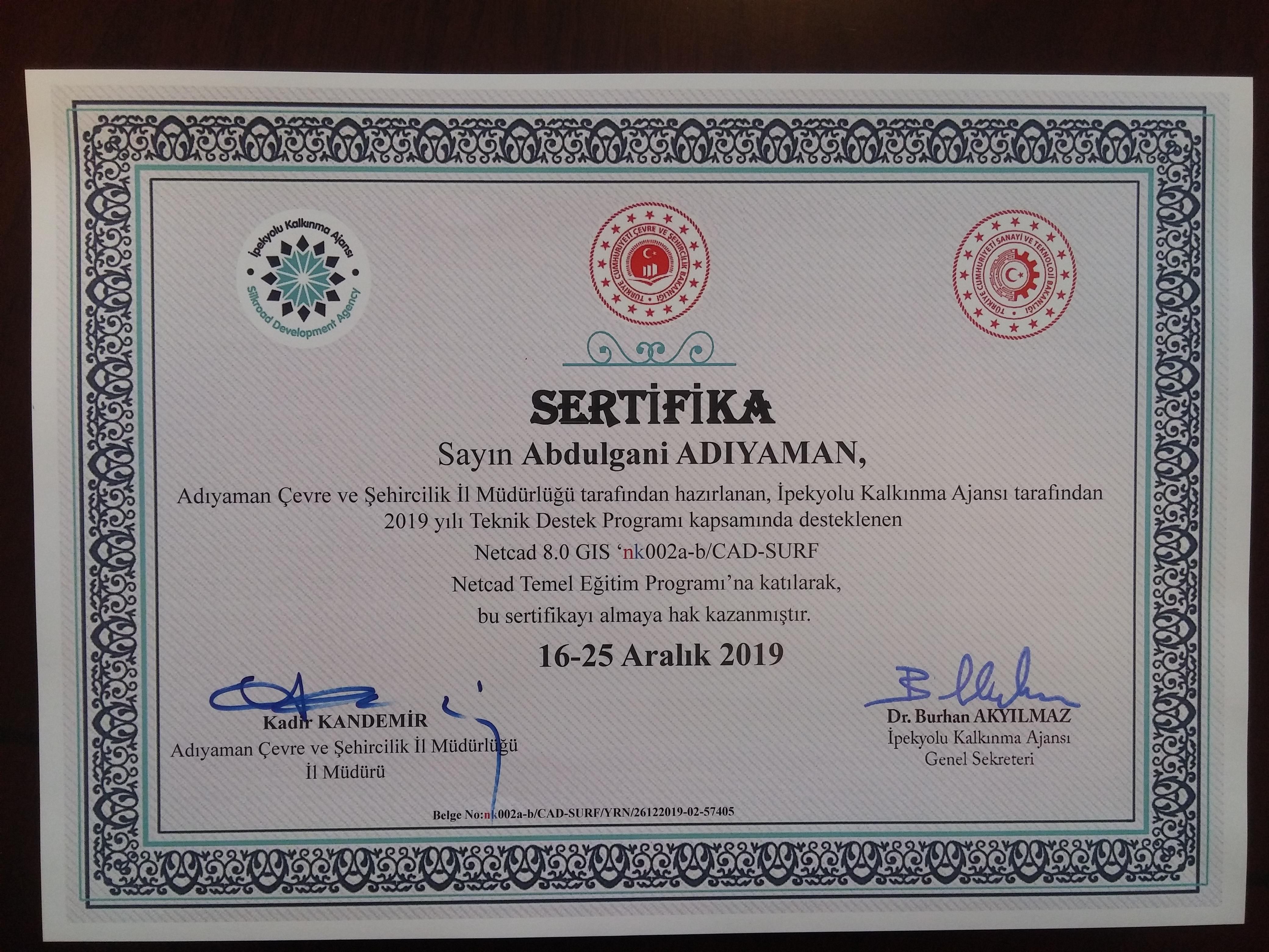 NetCAD Eğitim sertifikaları verildi