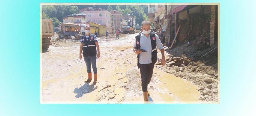 Amasya Çevre ve Şehircilik İl Müdürlüğü ekipleri Giresun Sel Bölgesinde