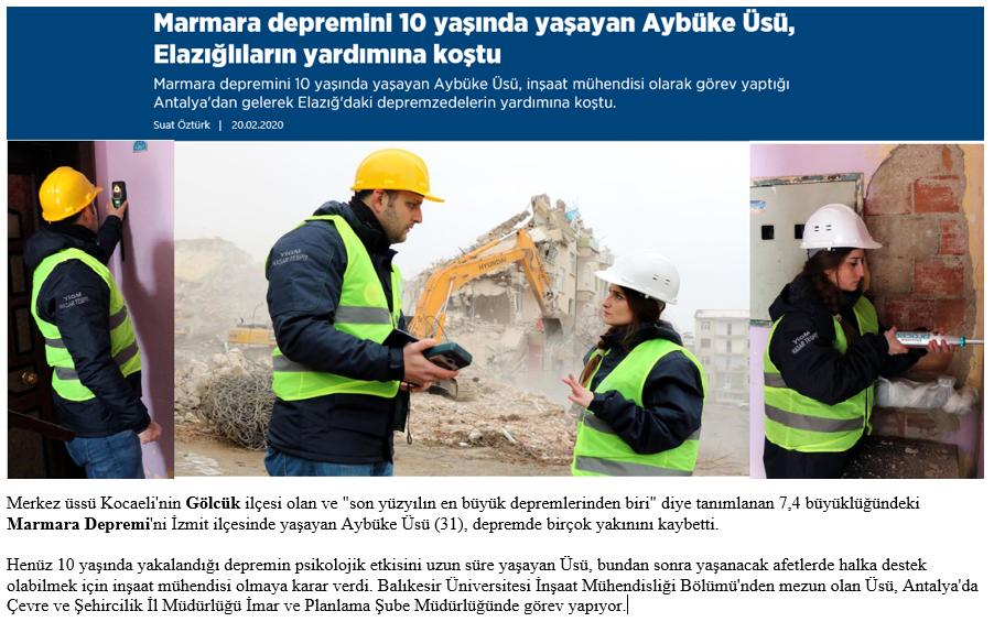 İl Müdürlüğümüz Personelleri Hasar Tespit Çalışması İçin Deprem Bölgesinde