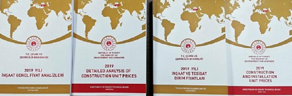 2019 Yılı İnşaat ve Tesisat Birim Fiyatları ile İnşaat Genel Fiyat Analizleri Satışa Sunulmuştur