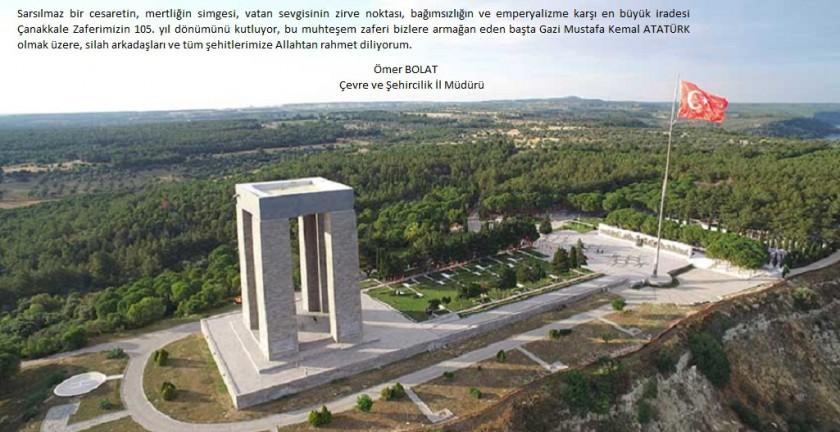 İl Müdürümüz Ömer BOLAT'ın 18 Mart Şehitleri Anma Günü ve Çanakkale Deniz Zaferinin 105. Yıl Dönümü Mesajı