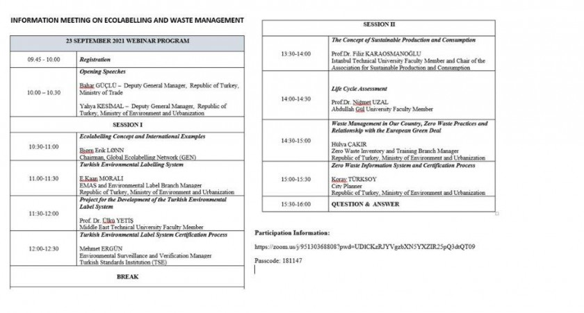 """Webinar titled """"Information Meeting on Ecolabelling and Waste Management"""" will be held on 23.09.2021 within the scope of the Green Deal Action Plan."""