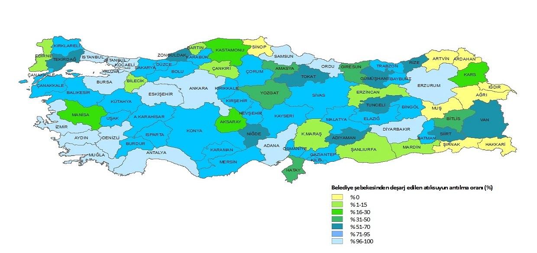 2016 Yılı İtibariyle Belediye Şebekesinden Deşarj Edilen Atıksuyun Arıtılma Oranı (%)