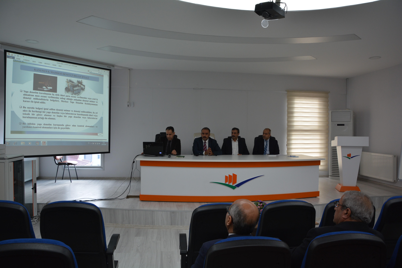 4708 Sayılı Yapı Denetim Mevzuatı ve Uygulamaları ile ilgili bilgilendirme toplantısı yapıldı.