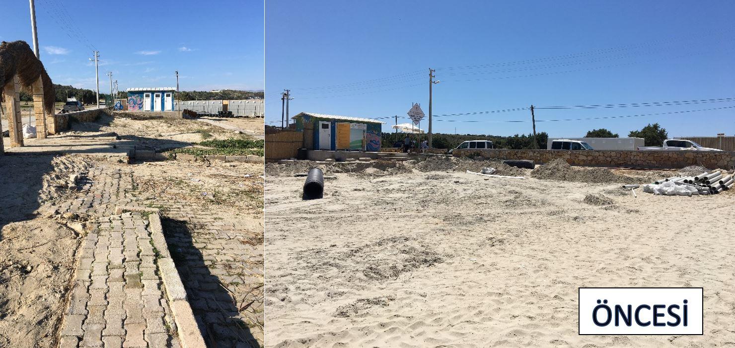 Çeşme, Şehit Mehmet Mahallesi, Pırlanta Plajı Mevkiinde doğal sit alanında kıyıda yapılmış kaçak betonarme yapının yıkım işlemleri gerçekleştirilmiştir.