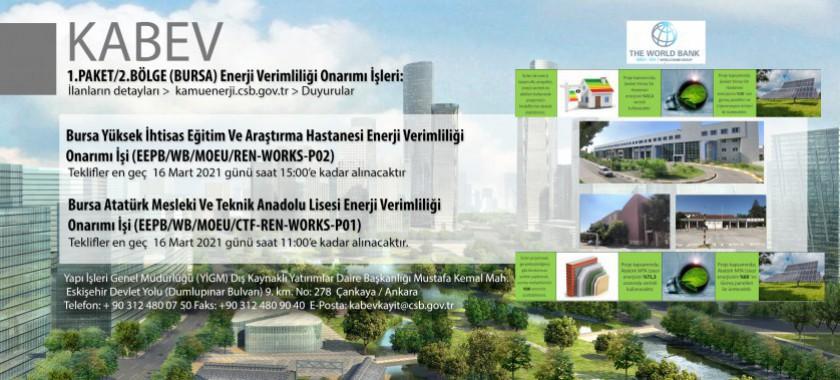 KABEV 1.Paket 2. Bölge (Bursa) Enerji Verimliliği Onarım İşleri İçin İhale İlanlarına Çıkılmıştır
