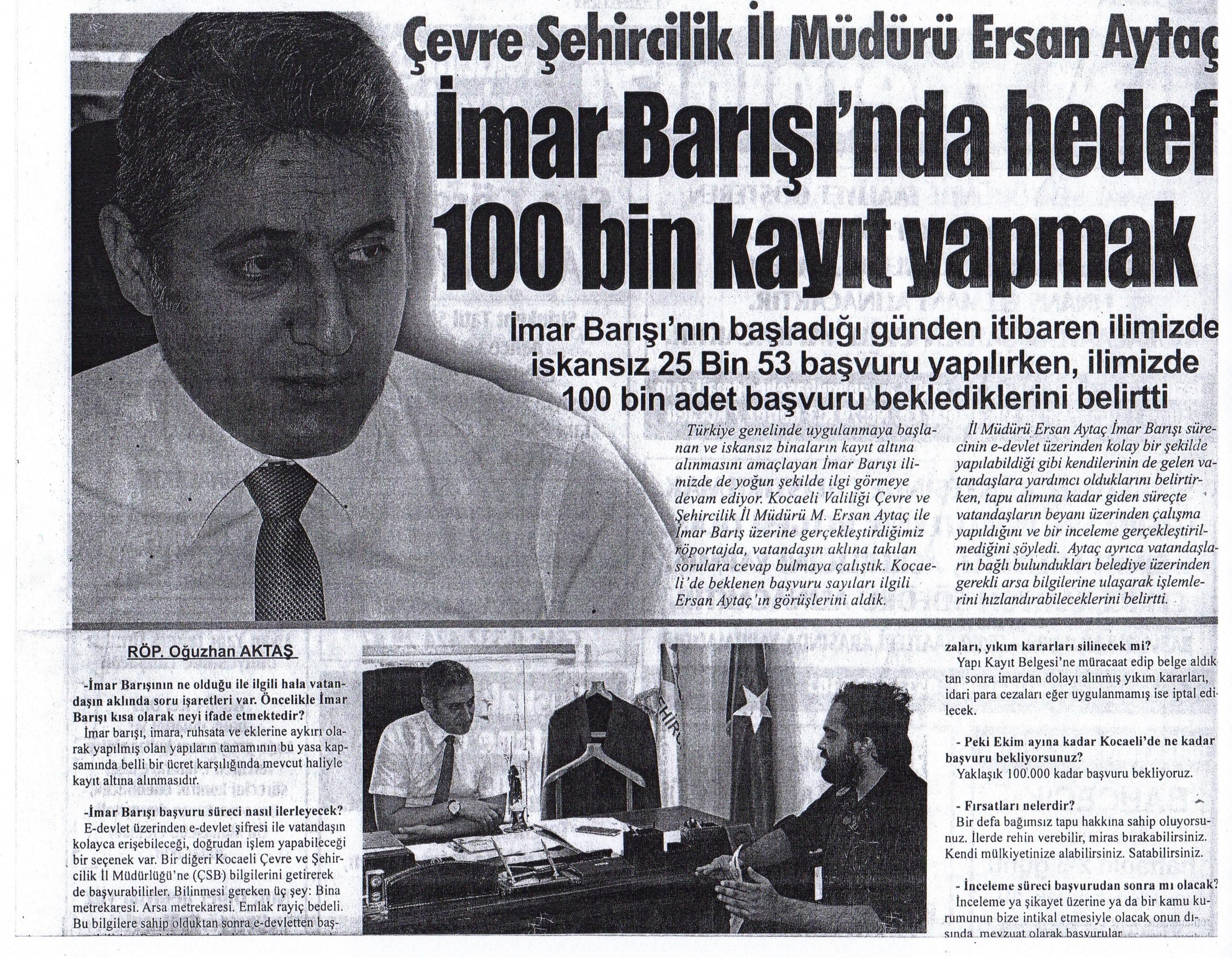 İl Müdürümüz Sayın Mehmet Ersan AYTAÇ'ın İmar Barışı Röportajı
