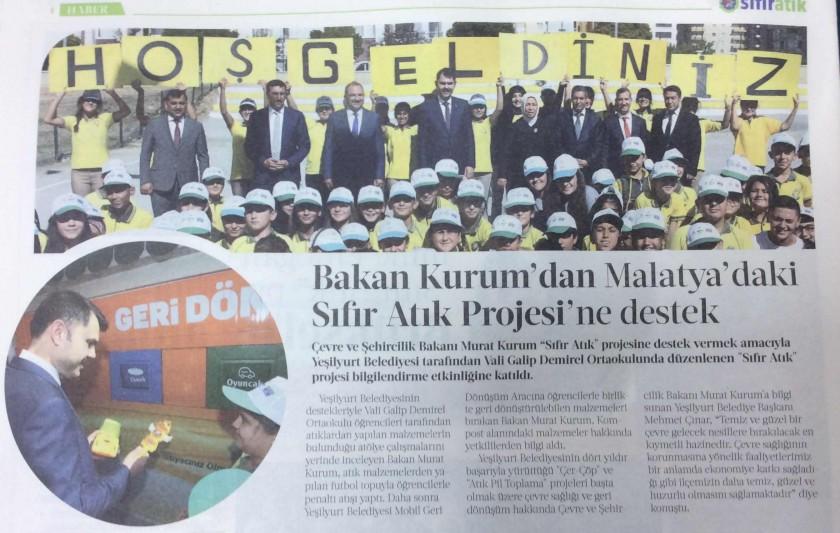 """Çevre ve Şehircilik Bakanımız Murat KURUM """"Sıfır Atık Projesi"""" 'ne desteği."""