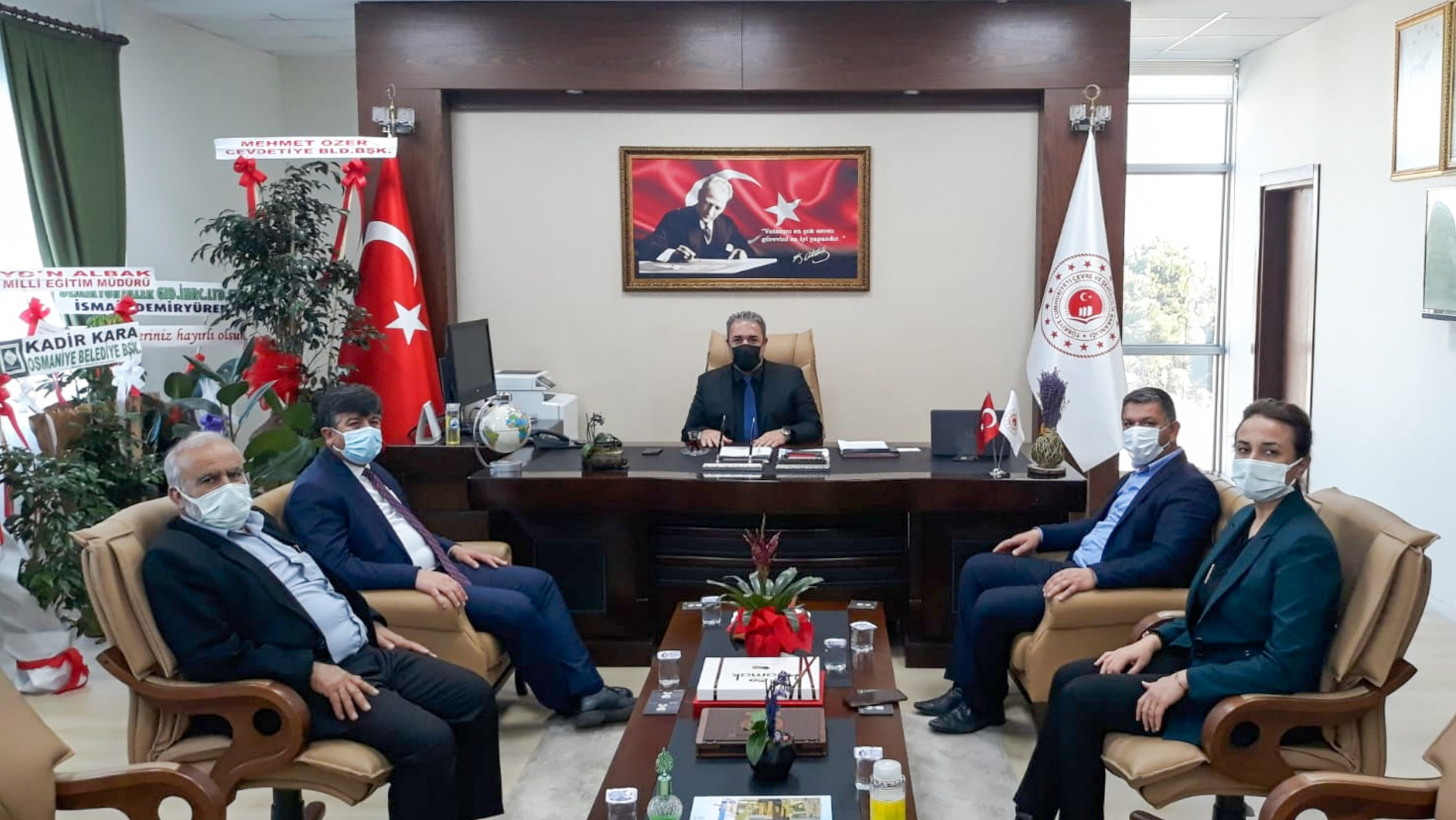 Bahçe İlçesi Belediye Başkanı Sayın İbrahim BAZ, AKP Bahçe İlçe Başkanı Sayın Zekeriya ÇELİK ve AKP İl Genel Meclis üyesi Sayın Ali KILIÇ İl Müdürümüz İrfan Remzi YILMAZ'ı ziyaret etti.