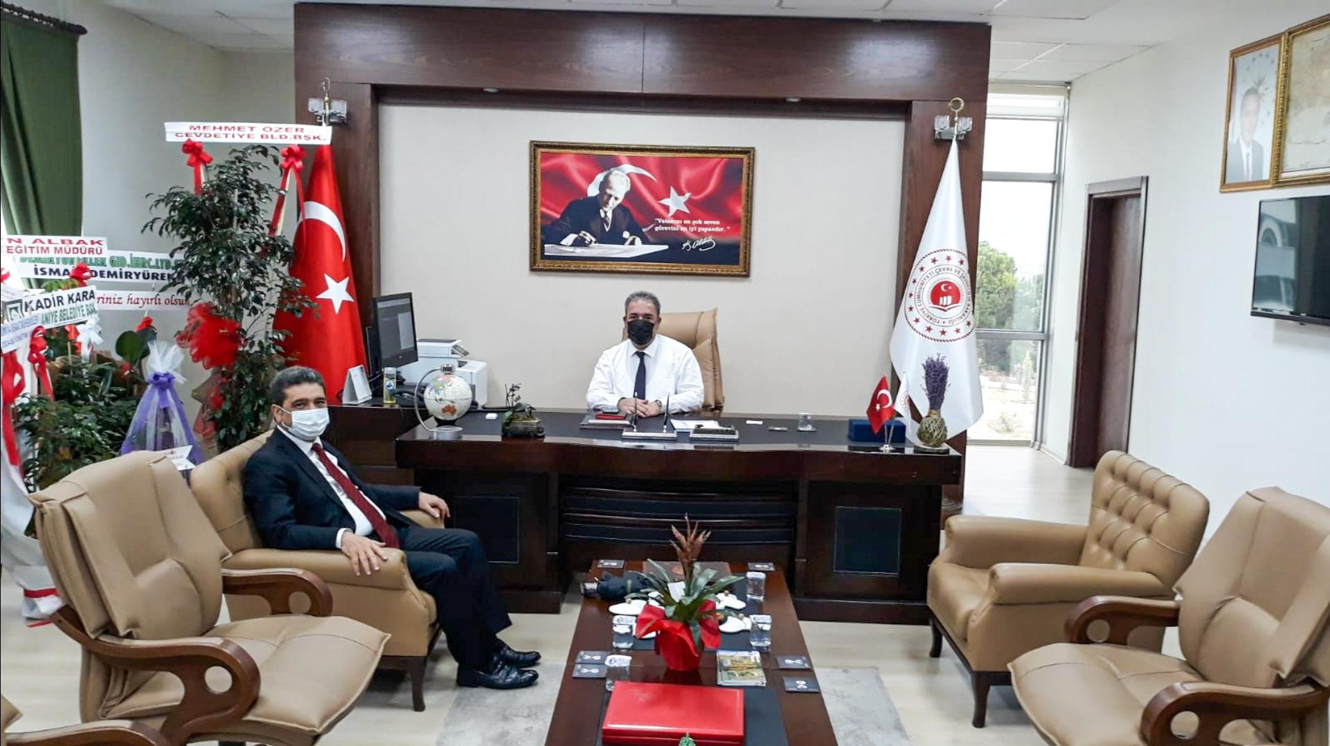 Eski Osmaniye Çevre ve Şehircilik İl Müdürümüz Ertuğrul KILIÇKIRAN İl Müdürümüz İrfan Remzi YILMAZ'ı ziyaret etti.