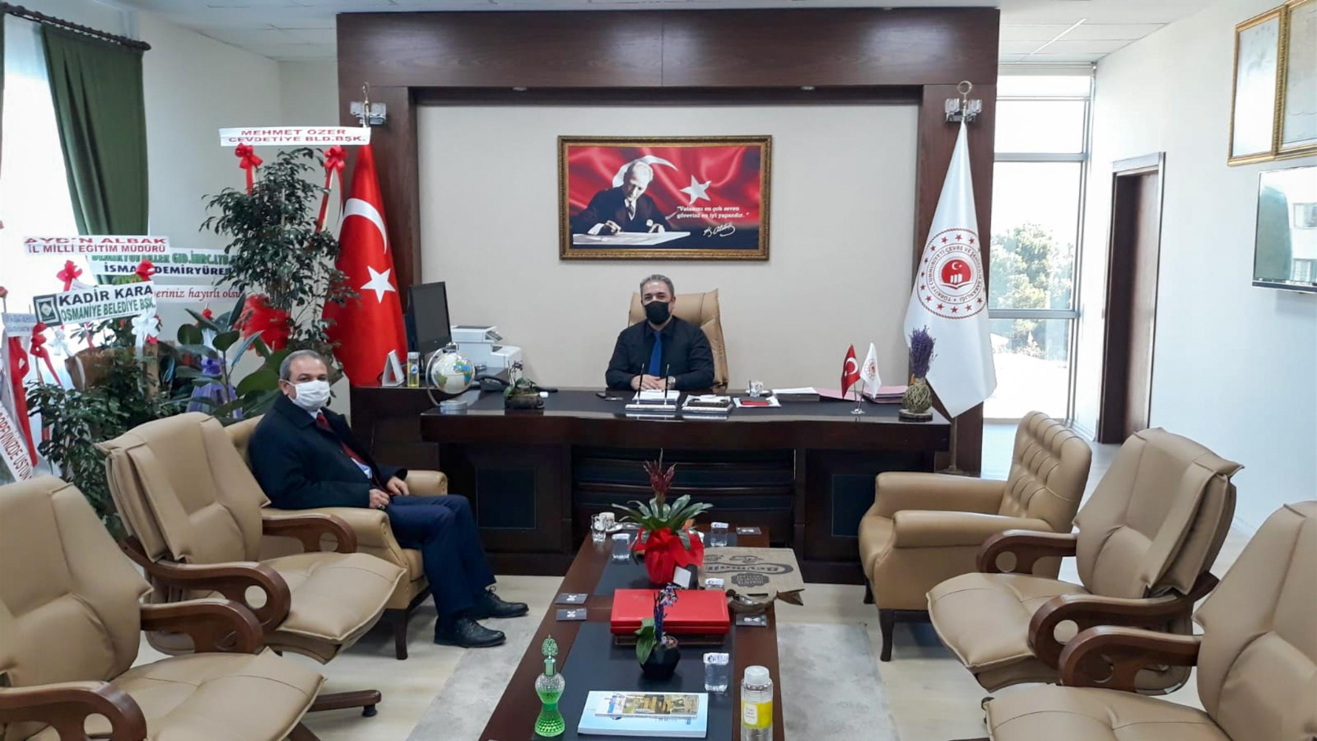Osmaniye Doğa Koruma ve Milli Parklar Şube Müdürü Sayın Fatih GÜVERCİN İl Müdürümüz İrfan Remzi YILMAZ'ı ziyaret etti.