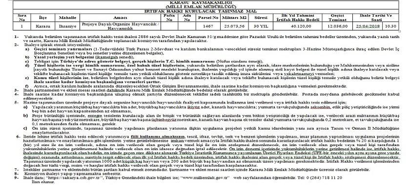 Karasu Milli Emlak Müdürlüğünce 25/04/2019 tarihinde yapılacak olan irtifak hakkı ihalesi