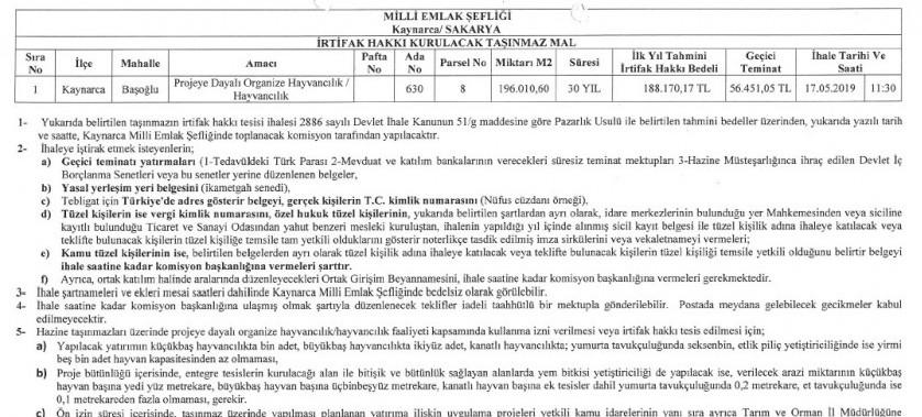 Sakarya Çevre ve Şehircilik il Müdürlüğüce (Kaynarca Milli Emlak Şefliği) 17.05.2019 tarihli