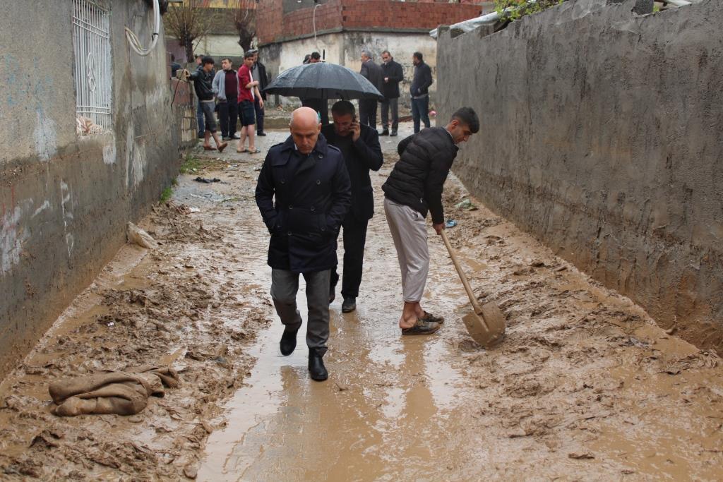 Şırnak İli, Cizre İlçesinde 24.03.2019 tarihinde, akşam 21:00 -23:00 saatleri arasında, aşırı yağış nedeniyle ilçe merkezinde ev ve işyerlerinde meydana gelen hasar.