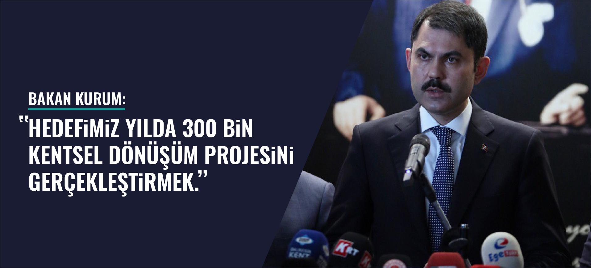 """BAKAN KURUM: """"HEDEFİMİZ YILDA 300 BİN KENTSEL DÖNÜŞÜM PROJESİNİ GERÇEKLEŞTİRMEK"""""""
