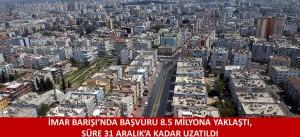 İMAR BARIŞI'NDA BAŞVURU 8.5 MİLYONA YAKLAŞTI, SÜRE 31 ARALIK'A KADAR UZATILDI