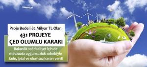 Proje Bedeli 82 Milyar TL Olan 431 Projeye ÇED Olumlu Kararı