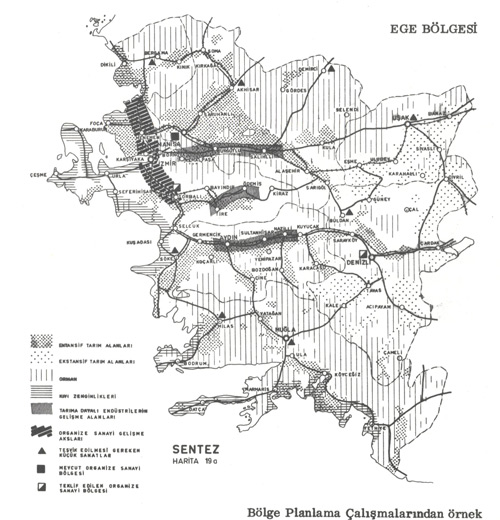 Ege Bölgesi Bölge Planlama Çalışmalarından örnek.