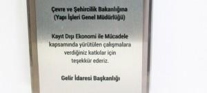 Maliye Bakanlığı'ndan Genel Müdürlüğümüze Teşekkür Plaketi