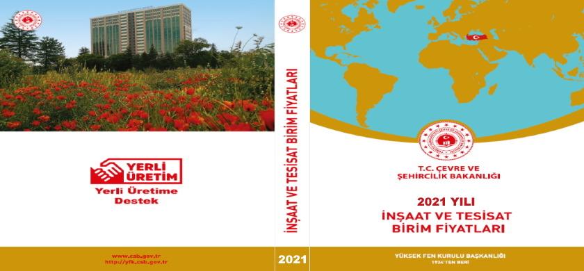 2021 yılı İnşaat ve Tesisat Birim Fiyatları kitabı satışa sunulmuştur