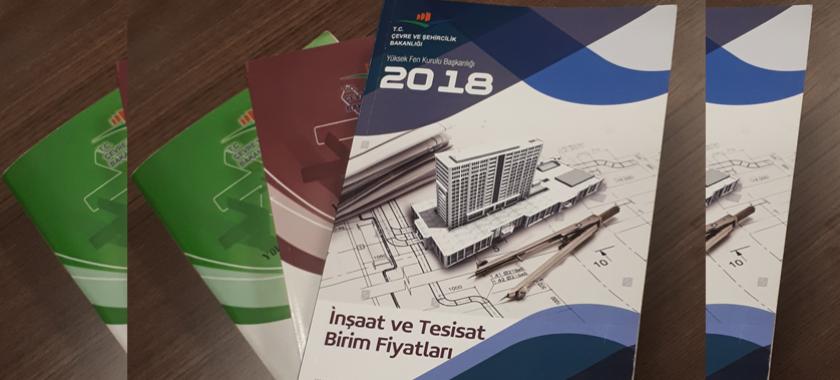 2018 Yılı İnşaat ve Tesisat Birim Fiyatları Kitabı satışa sunulmuştur